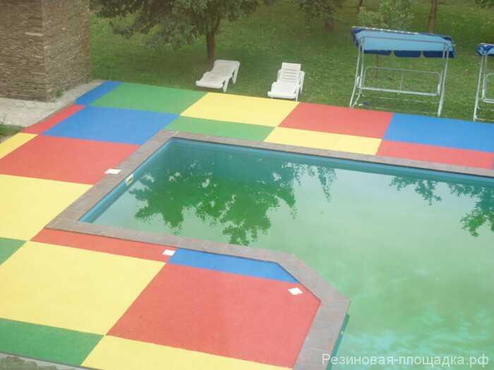 Резиновая плитка для бассейна